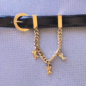 "Vintage Gold Charm Belt 80s Paloma Picasso 32"" W"